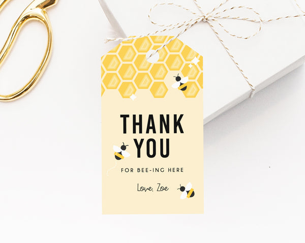 Bee Day Birthday Party Favor Tag Template, Bee-Day Favor Label, Gift Tag, Bee Day Birthday Thank You Label, Templett
