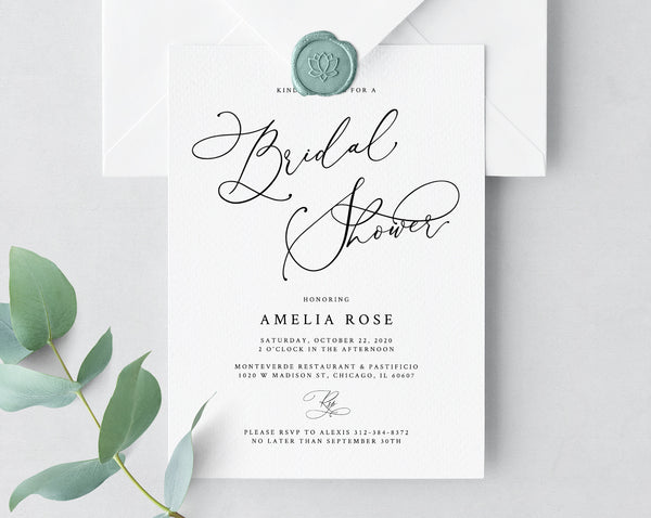 Bridal Shower Invitation Template, Printable Bridal Shower Invite, Calligraphy Bridal Invitation, Bridal Shower Invites, Templett, W30