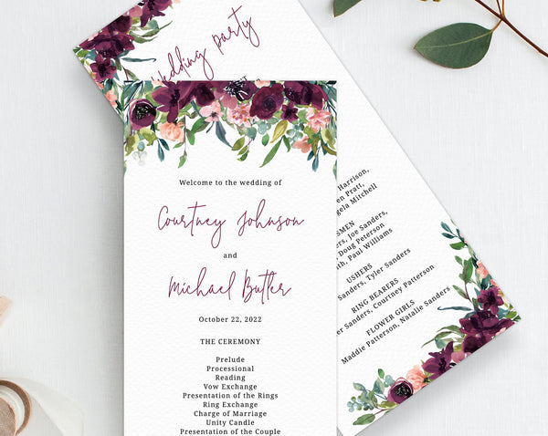 Burgundy Wedding Program Template, Printable Wedding Program, Editable Boho Wedding Program, Instant Download, Templett, W32