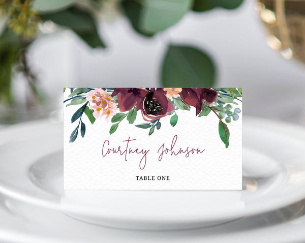 Burgundy Wedding Place Cards Template, Seating Card, Boho Wedding Escort Cards, Printable Tent Cards, Instant Download, Templett, W32