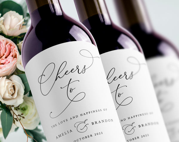 Wedding Wine Bottle Label Template, Custom Wine Bottle Label Sticker, Wedding Favor Wine Sticker, Printable, Instant Download, Templett, B30