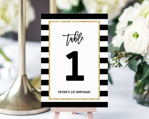 Mr. Onederful Table Numbers Template, First Birthday Party Table Numbers, Mr. Onederful Party Table Signs, Black and Gold, Templett, B02