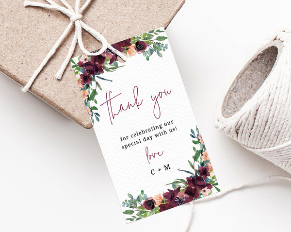 photo relating to Thank You Tag Printable named Burgundy Wedding day Choose Tag Template, Thank By yourself Tag, Marriage ceremony Prefer Label, Boho Wedding day Present Tags, Floral Like Tag Printable, Templett, W32