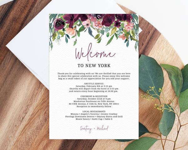 Burgundy Welcome Letter Template, Wedding Itinerary Card, Welcome Bag Letter, Wedding Agenda, Printable Hotel Welcome Note, Templett, W32