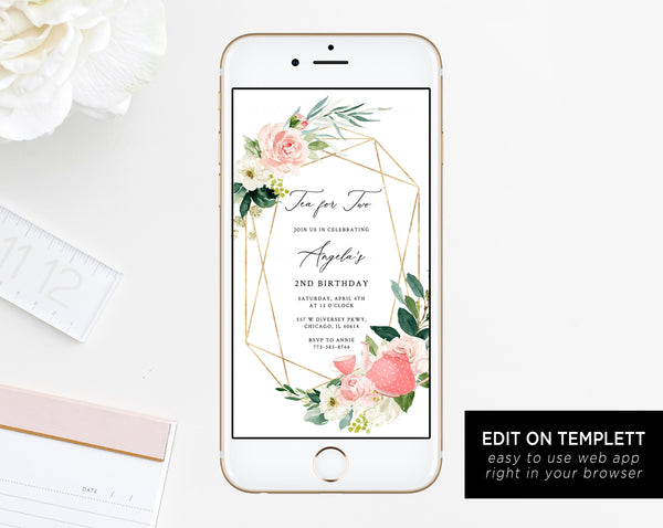 Tea For Two Electronic Invitation Template, Tea Party Birthday Mobile Invite, Birthday Partea Phone Invitation, Instant Download, Templett