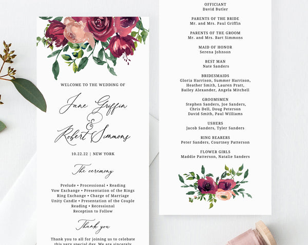 Burgundy Wedding Program Template, Printable Wedding Program, Editable Rose Wedding Program, Instant Download, Templett, W33