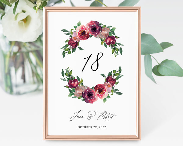 Burgundy Floral Wedding Table Number Template, Printable Rose Wedding Table Numbers, Floral Table Numbers Card Template, Templett, W33