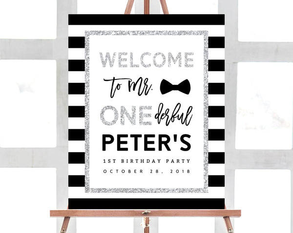 Mr. Onederful Welcome Sign Template, Onederful Sign Printable, One-derful Birthday Party Welcome Sign, 1st Birthday Sign, Templett, B02B