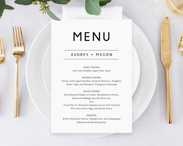 Wedding Menu Template.Wedding Menu Template Printable Wedding Menu Minimalist Wedding Menu Simple Wedding Menu Diy Menu Instant Download Templett W25