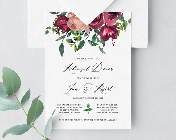Rehearsal Dinner Invitation Template, Burgundy Rose Floral Wedding Rehearsal Invitation, Printable The Night Before Invite, Templett, W33
