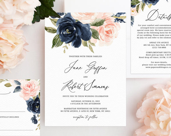Navy Blush Wedding Invitation Template Printable Suite Set Floral Templett W34