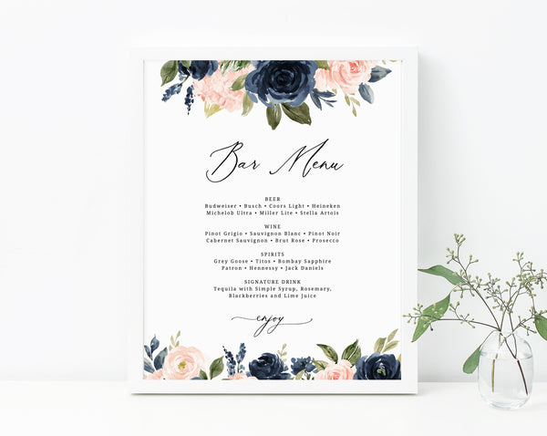 Navy & Blush Wedding Bar Menu Sign, Wedding Bar Menu Printable, Drink Menu Sign, Wedding Drinks Sign, Instant Download, Templett, W34
