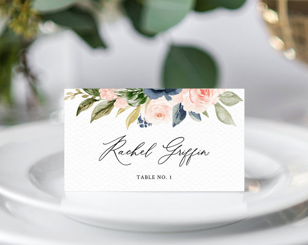 Navy & Blush Wedding Place Cards Template, Seating Card, Navy Wedding Escort Cards, Printable Tent Cards, Instant Download, Templett, W34