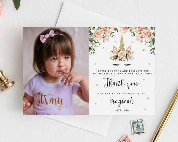 Unicorn Birthday Thank You Card Template, Unicorn Thank You Photo Card, Unicorn First Birthday Card, Instant Download, Templett, B04