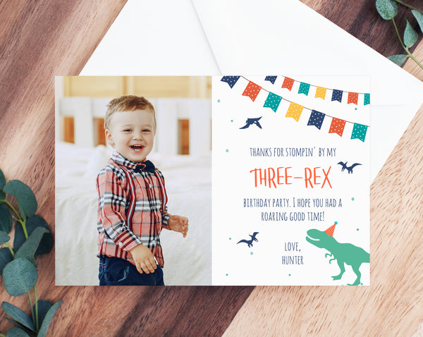 Dinosaur Birthday Thank You Card Template, Three-Rex Party Thank You Photo Card, Dinosaur Birthday Card, Instant Download, Templett, B12