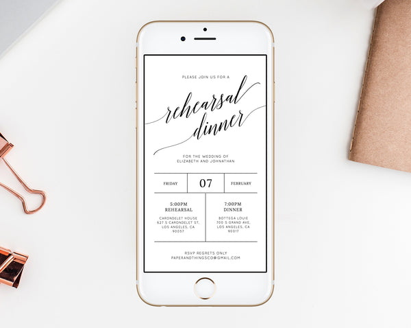 Rehearsal Dinner Invitation Template, Electronic Wedding Rehearsal Invitation, The Night Before Rehearsal Phone Invite, Templett, W02