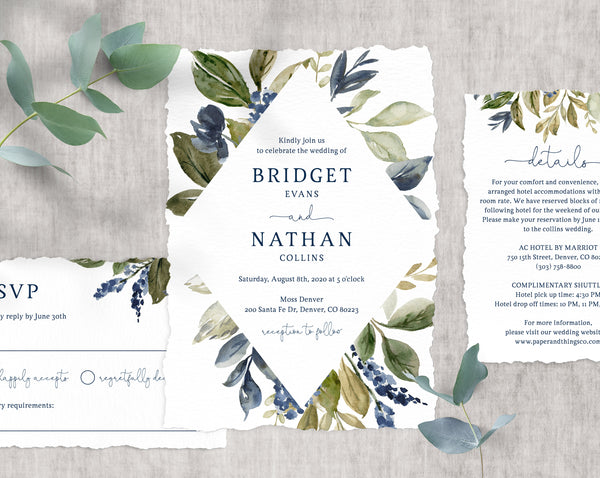 Navy & Greenery Wedding Invitation Template, Printable Wedding Invitation Suite, Wedding Invitation Set, Instant Download, Templett, W10