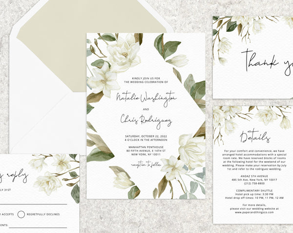 Magnolia Wedding invitation template, Printable Wedding Invitation Suite, Magnolia Themed Wedding Invitation Set, Templett, W35