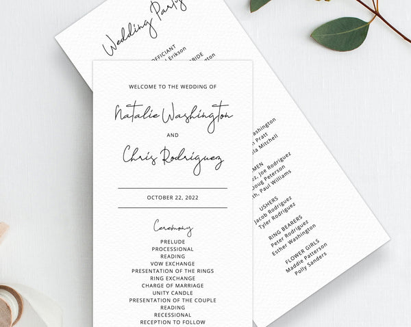 INSTANT DOWNLOAD Wedding Program Template, Printable Wedding Program, Simple Wedding Program, Editable Ceremony Programs, Templett, W36