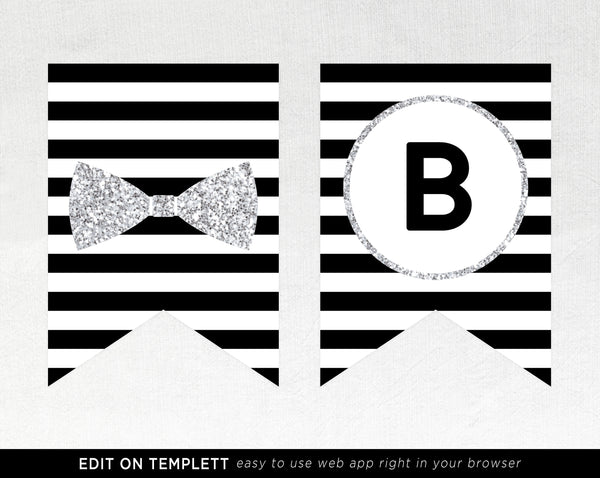 Mr. Onederful Banner Template, Silver Onederful Banner Printable, One-derful Birthday Party Banner, 1st Birthday Sign, Templett, B02B