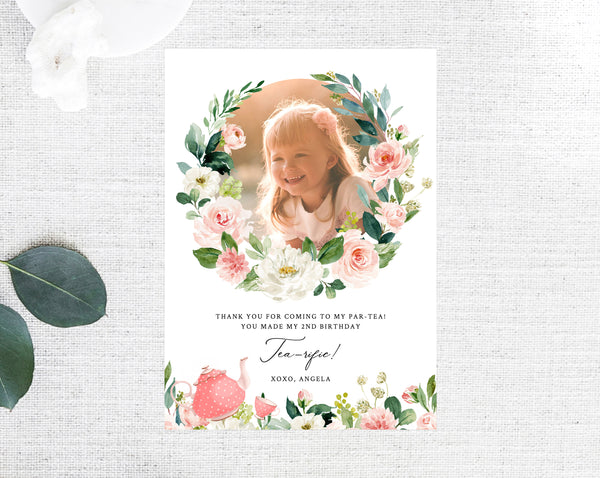 Tea Party Thank You Card Template, Tea For Two Birthday Thank You Photo Card, Partea Birthday Card, Instant Download, Templett