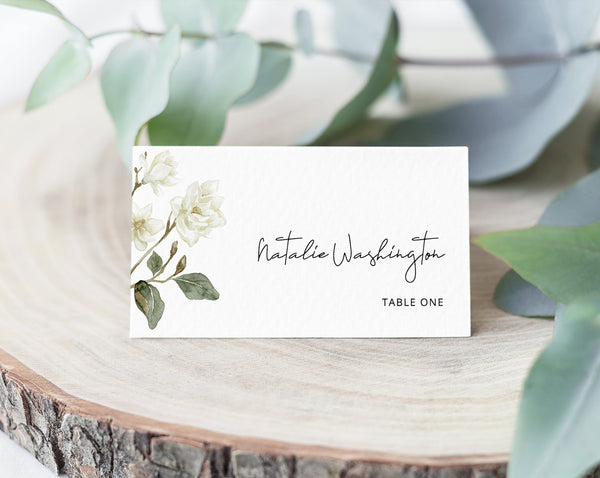 Magnolia Wedding Place Cards Template With Meal Choice Selection, White Floral Wedding Escort Cards, Printable, Templett, W35