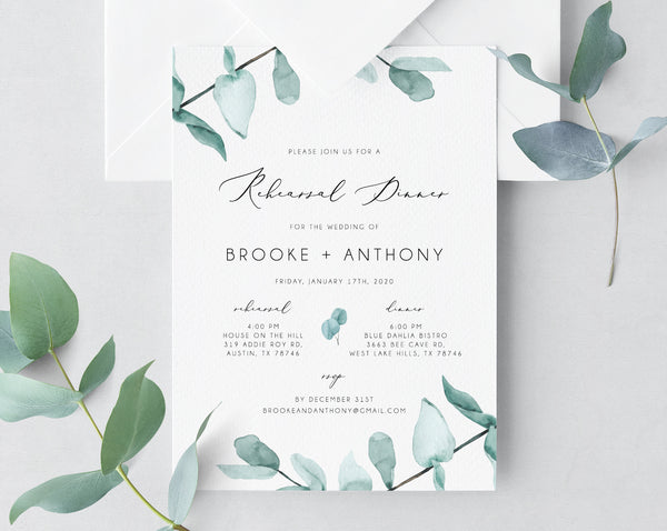 Rehearsal Dinner Invitation Template, Greenery Wedding Rehearsal Invitation, Printable The Night Before Rehearsal Invite, Templett, W21