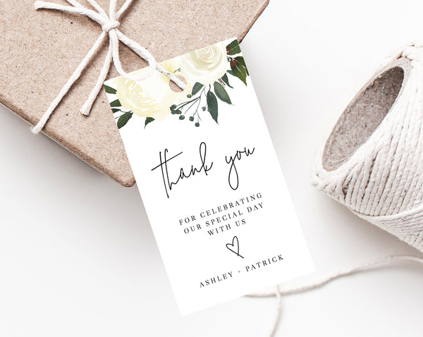 Wedding Favor Tag Template, Thank You Tag, Wedding Favor Tags, Greenery Wedding Gift Tag, Floral Favor Tag Printable, Templett, W19