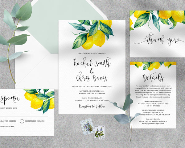 Lemon Wedding Invitation Template, Printable Citrus Wedding Invitation, Lemon Wedding Invitation Set, Templett, Instant Download, W37