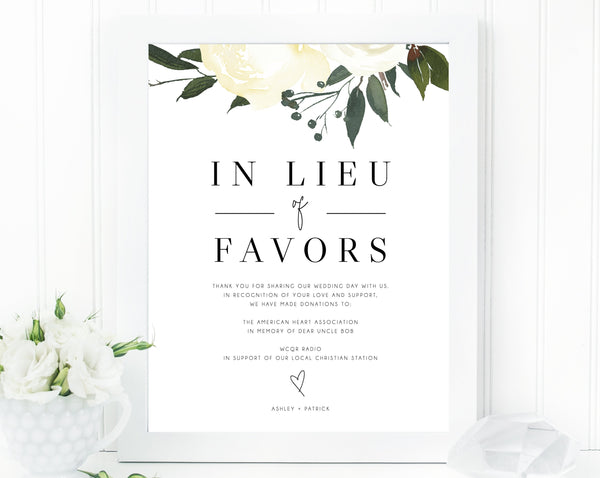 In Lieu of Favors Sign Template, Floral In Lieu of Favors Sign, Editable In Lieu of Favors Sign, Wedding Donation Sign, Templett, W19