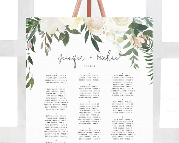 Wedding Seating Chart Template, Alphabetical Seating Chart, Greenery Wedding Seating Board, White Floral, Instant Download, Templett, W21
