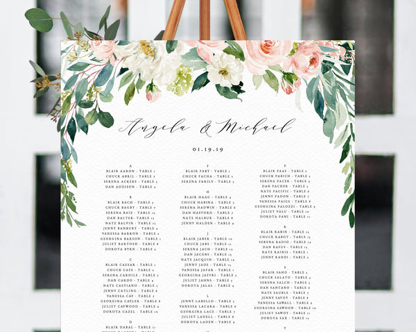 Wedding Seating Chart Template, Alphabetical Seating Chart, Greenery Wedding Seating Board, Blush Floral, Instant Download, Templett, W21