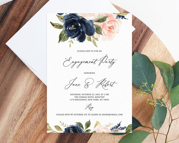 Navy & Blush Engagement Party Invitation Template, Printable Engagement Invitation, Engagement Invite, Editable Template, Templett, W34