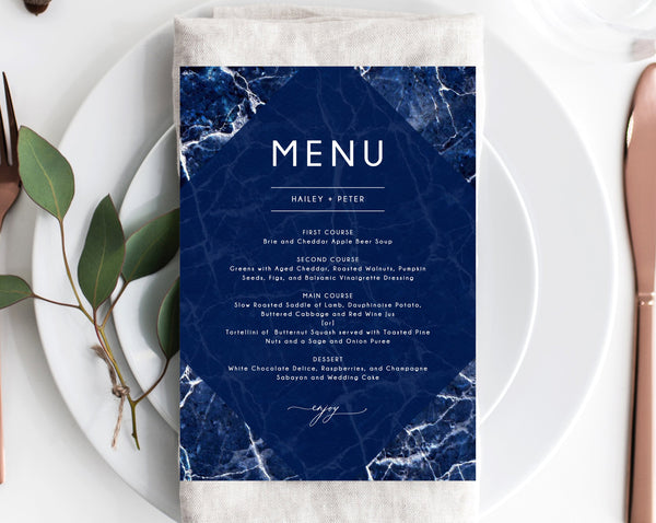 Navy Marble Wedding Menu Template, Printable Wedding Menu, Editable Wedding Menu, Navy Wedding Menu, Instant Download, Templett, W38