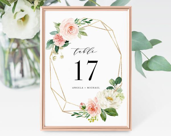 Blush Floral Wedding Table Number Template, Printable Wedding Table Numbers, Floral Table Numbers Card Template, Templett, W29