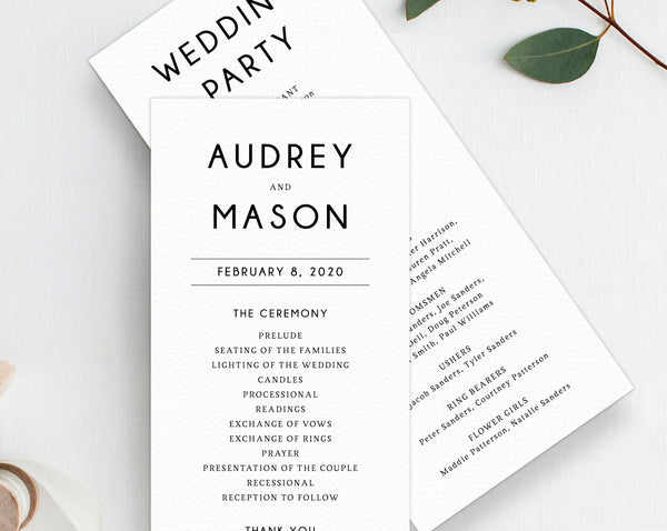 Wedding Program Template, Printable Wedding Program, Simple Wedding Program, Editable Ceremony Programs, Instant Download, Templett, W25