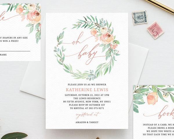 Peach Floral Baby Shower Invitation Template, Printable Floral Baby Shower Invitation Set,Instant Download, Templett, B39