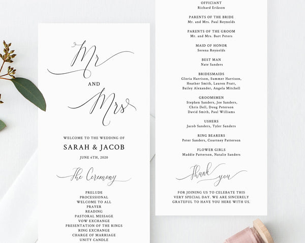 Wedding Program Template, Printable Wedding Program, Mr and Mrs Wedding Program, Editable Ceremony Programs, Instant Download, Templett, W31