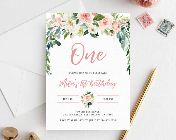 Blush Pink Floral First Birthday Party Invitation Template, Printable Baby 1st Birthday Invitation For Girls, Boho Invite, One, Templett