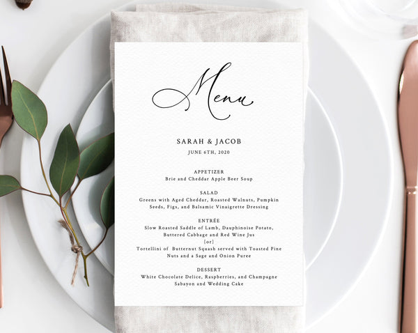 Wedding Menu Template.Wedding Menu Template Printable Wedding Menu Minimalist Wedding Menu Simple Wedding Menu Diy Menu Instant Download Templett W30