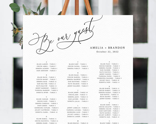 Be Our Guest Wedding Seating Chart Template, Table Chart Printable, Alphabetical Seating Chart Board, Wedding Sign, Templett, W30