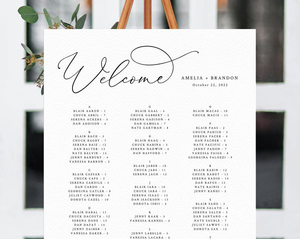 Welcome Wedding Seating Chart Template, Table Chart Printable, Alphabetical Seating Chart Board, Wedding Sign, Templett, W30