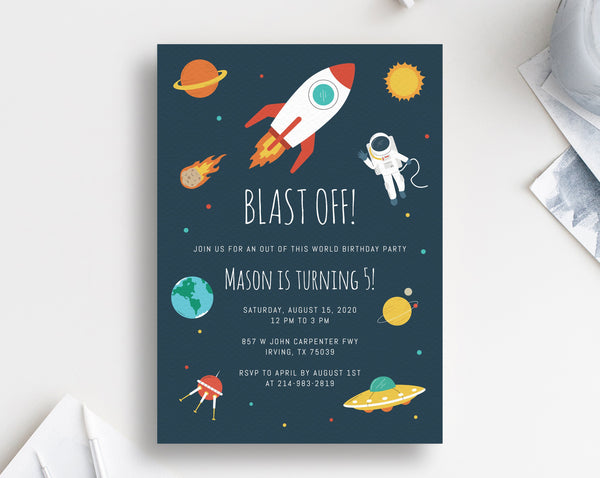 Space Birthday Invitation Template, Astronaut Birthday Party Invitation, Printable Space Rocket Themed Invite, Instant Download, Templett