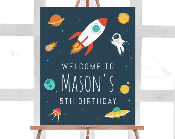 Space Birthday Welcome Sign Template, Astronaut Birthday Party Welcome Sign, Printable Space Rocket Themed Sign, Instant Download, Templett