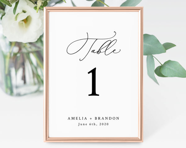 Wedding Table Numbers Template, Printable Wedding Table Numbers, Wedding Table Number Card, Instant Download, Templett, W30