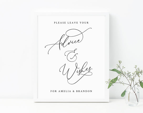 Wedding Guest Book Sign, Wishes for the Newlyweds, Guest Book Sign Printable, Advice Sign, Well Wishes Sign, Instant Download, Templett, W30