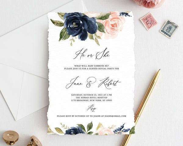Gender Reveal Invitation Template, Navy Blue and Blush Pink Floral Gender Reveal Invite, Editable Template, Instant Download, Templett, B34