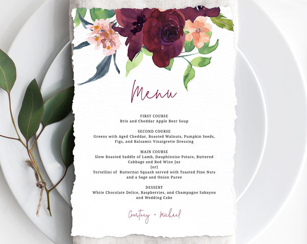 Wedding Menu Template, Printable Floral Menu, Editable Wedding Menu, Burgundy Wedding Menu, DIY Wedding Menu, Templett, Instant Dowload, W32