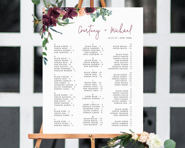 Burgundy Wedding Seating Chart Template, Boho Floral Alphabetical Seating Chart, Boho Wedding Seating Board, Instant Download, Templett, W32