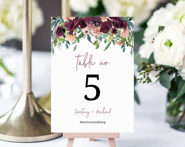 Burgundy Floral Wedding Table Number Template, Printable Boho Wedding Table Numbers, Floral Table Numbers Card Template, Templett, W32